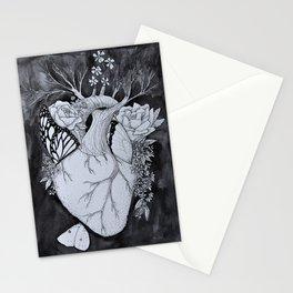 Botanical Heart Black & White Stationery Cards