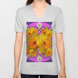 Shasta Daisy Fuchsia Gold Daffodils Design Unisex V-Neck