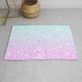 Floral Gradient - Pink and Turquoise Rug