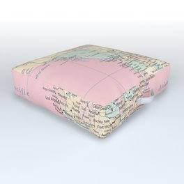 World Map North America Outdoor Floor Cushion