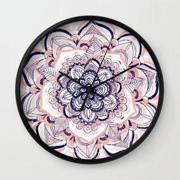 Woven Dream - Mandala in Pink, White and deep Purple Wall Clock
