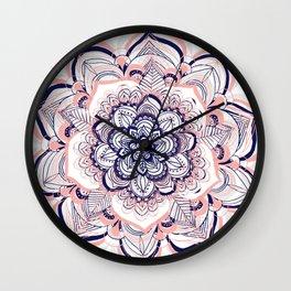Woven Dream - Mandala in Pink, White and deep Purple Wall Clock