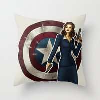 agent carter Throw Pillows featuring Agent Carter by Tera Sidebottom