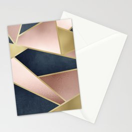 Rose Gold, Pink and Navy Blue Modern Geometric Pattern Stationery Cards