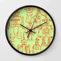 robots Wall Clocks featuring Robots! by Paul McCreery