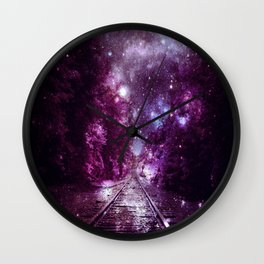 Dream Train Tracks : Next Stop Anywhere purple pink Wall Clock