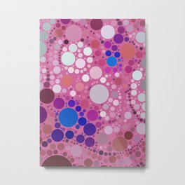 Colorful & Pink Multi Polka Dots Pattern Design Metal Print