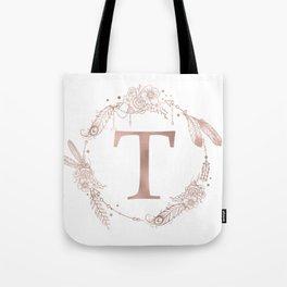 Letter T Rose Gold Pink Initial Monogram Tote Bag