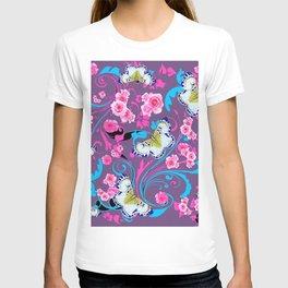 PINK ROSES & BUTTERFLIES  BLUE SCROLLS ART T-shirt
