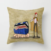 discworld Throw Pillows featuring A Docctor and his Luggage by Nana Leonti