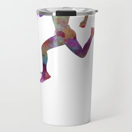 woman runner running jogger jogging silhouette 01 Travel Mug