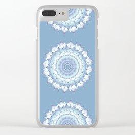 Delicate Mandala pastel ice blue Clear iPhone Case