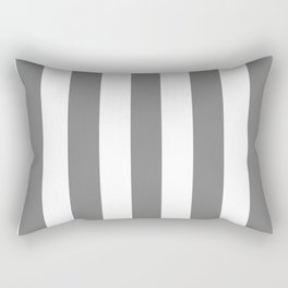 Trolley grey - solid color - white vertical lines pattern Rectangular Pillow