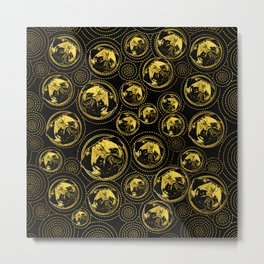 Pug Puppy Pattern gold and black Metal Print