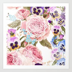 Spring flowers with mandalas Art Print