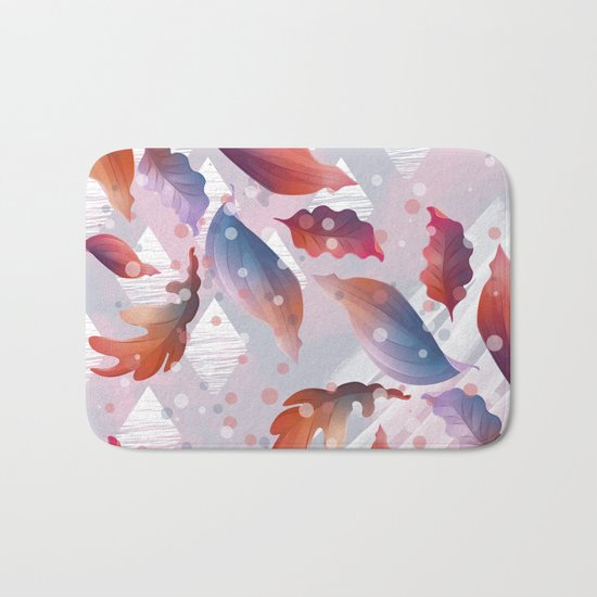 Leaves, lines and diamonds Bath Mat