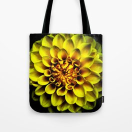 Yellow Dahlia On Black Tote Bag