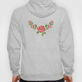 Red embroidered rose Hoody