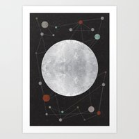the moon Art Prints featuring Moon by FLATOWL