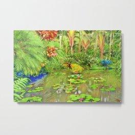 Frida Kahlo's 'Casa Azul' Secret Garden tropical landscape Metal Print