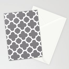 Gray Quatrefoil Stationery Cards