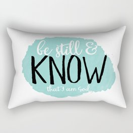 Be Still and Know that I am God, blue polka dots Rectangular Pillow