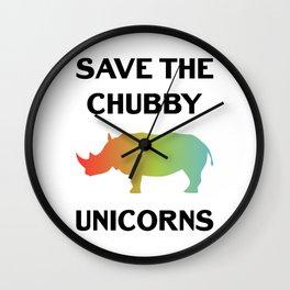 Save The Chubby Unicorns Funny Vintage Retro Rhino Shirt Gift Wall Clock
