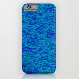 Horizontal metal texture of Iridescent highlights on blue waves. iPhone Case