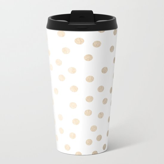 Simply Dots in White Gold Sands Metal Travel Mug