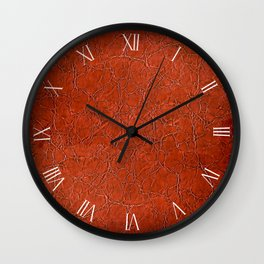 Brown puckered leather cloth material abstract Wall Clock