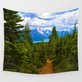 Maligne Lake from Above on the Bald hills hike in Jasper National Park, Canada Wall Tapestry