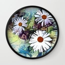 Mistical flowers in the garden Wall Clock