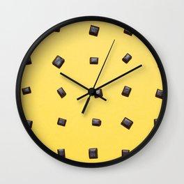 Liquorice on yellow paper pattern Wall Clock