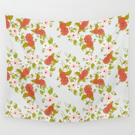 Climbing Roses, Crimson, Green, Pink and Grey Wall Tapestry
