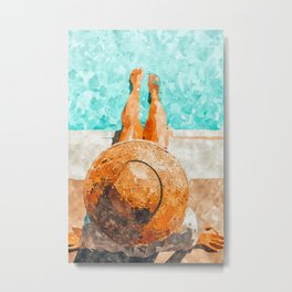By The Pool All Day, Summer Travel Woman Swimming, Tropical Fashion Bohemian Painting Metal Print