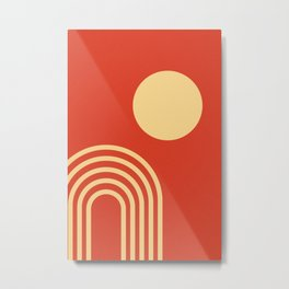 Lines and Circle, Mid-Century Modern Art, Geometric Print Wall Art Metal Print