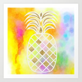 Watercolor and Gold Pineapple Art Print