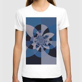 Shades of Classic Blue & Gray Kaleidoscope Mandala T-shirt