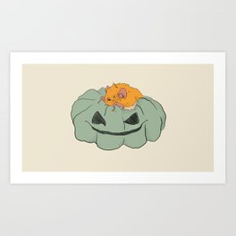 Little bat on a pumpkin Art Print