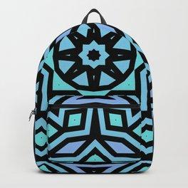 Aqua/Lilac/Black Tribal Pattern Backpack