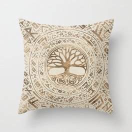 Tree of life -Yggdrasil Runic Pattern Throw Pillow