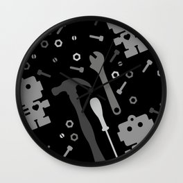Techie Tools - black and grey Wall Clock