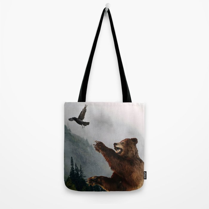 The Trickster - Raven & Grizzly Bear Art Print Tote Bag