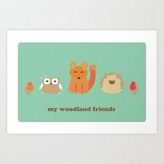 My woodland friends Art Print