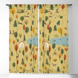 vintage seamless pattern of autumn forest landscape with wild animals and people on vacation. Blackout Curtain