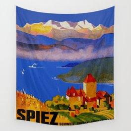 Vintage Spiez Switzerland Travel Poster Wall Tapestry