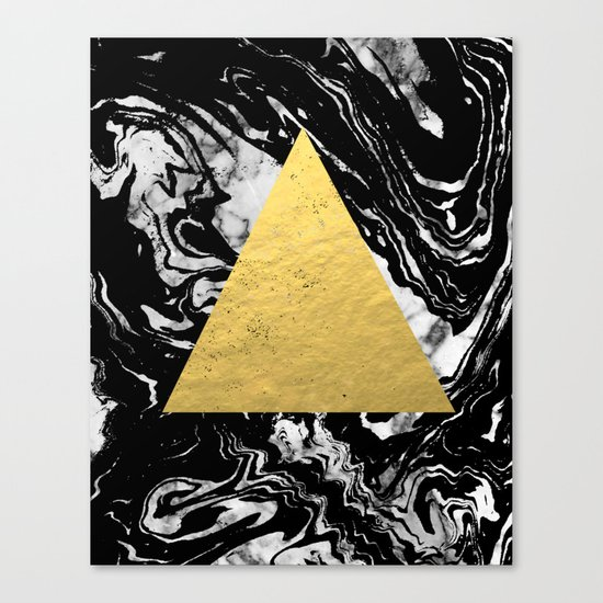 Layden - triangle black and gold marble trendy hipster gift idea cell phone case minimal abstract  Canvas Print