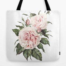 Pink Garden Roses Watercolor Tote Bag
