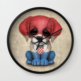 Cute Puppy Dog with flag of Croatia Wall Clock