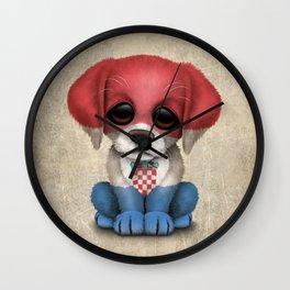 Cute Puppy Dog with flag of Croatia Wall Clock